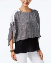 Alfani Petite Layered-Look Colorblocked Blouse, Only at Macy's