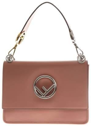 Fendi Kan I F Pink Leather Handbag With Logo