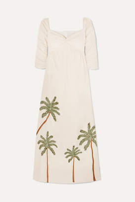 Agua Bendita Agua by America Ruched Embroidered Linen Maxi Dress - Cream