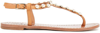 Tory Burch Emmy Faux Pearl-embellished Leather Sandals