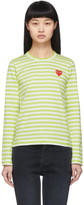 Comme des Garcons Green and White Striped Heart Patch Long Sleeve T-Shirt