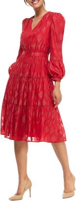Gal Meets Glam Annette Metallic Jacquard Long Sleeve Dress