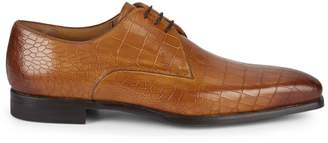 Magnanni Croc-Embossed Leather Derby Shoes