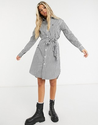 Polo Ralph Lauren shirt dress with tie belt in mono stripe