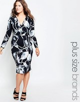 Club L Plus Midi Dress With Wrap Front In Leaf Print