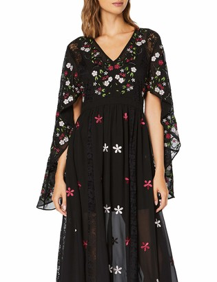 Frock and Frill Women's Glenda Cape Sleeve Embroidered Maxi Party Dress