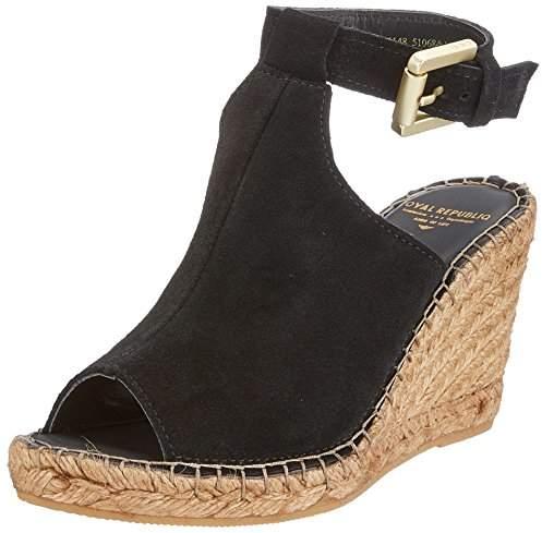 ac4fd57960 Black Suede Peep Toe Wedges - ShopStyle UK
