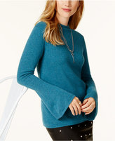 Charter Club Cashmere Trumpet-Sleeve Sweater, Created for Macy's
