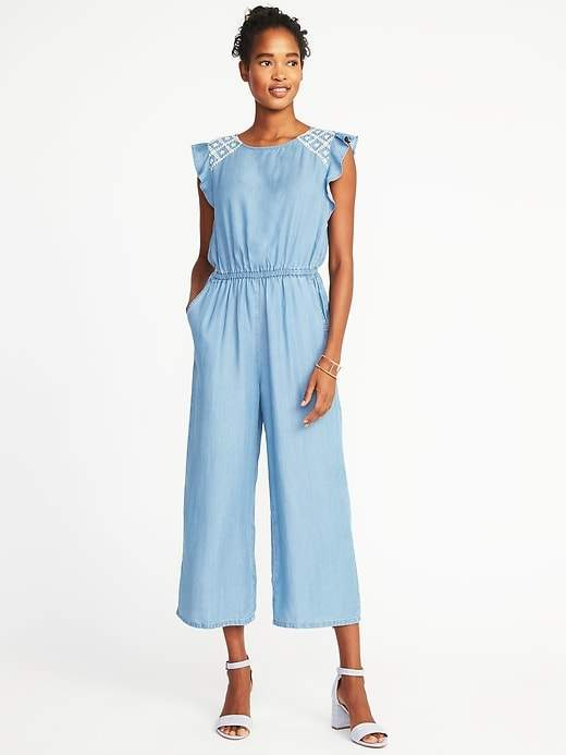 Old Navy Embroidered Waist-Defined Tencel® Jumpsuit for Women