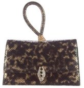 Kenneth Jay Lane Embossed Leather Flap Clutch
