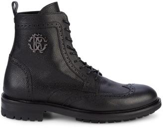 Roberto Cavalli Wingtip Pebbled-Leather Combat Boots