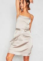 Missy Empire Sara Silver Satin D-Belt Slip Dress