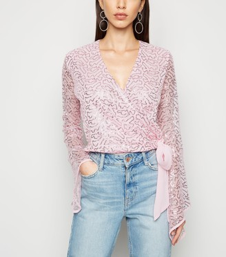 New Look Sequin Embellished Tie Front Blouse