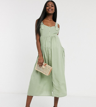 ASOS DESIGN Maternity dungaree button through midi sundress in khaki