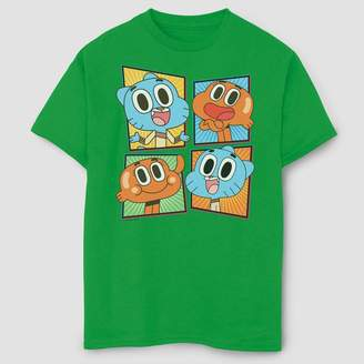 Fifth Sun Boys' Gumball Smiling Character Panels Adventure Time T-Shirt - Green