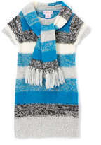 Pink Angel Teal & Black Stripe Sweater Dress & Scarf - Toddler & Girls