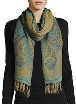 Sabira Desiree Paisley Wool Stole, Light Blue