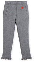 Gucci Heathered Cotton Track Pants, Gray, Size 4-12