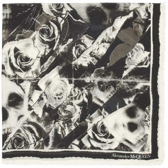 Alexander McQueen Black and Off-White Ripped Roses Skull Scarf