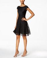 Betsy & Adam Petite Illusion-Striped A-Line Dress