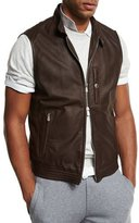 Brunello Cucinelli Lamb Leather Moto Vest, Brown