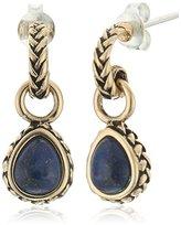 Barse Bronze and Genuine Lapis Teardrop Earrings