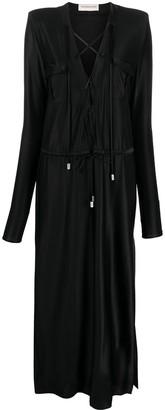 Alexandre Vauthier Draped Long-Sleeved Maxi Dress