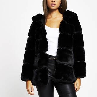 River Island Womens Black panelled hooded faux fur coat