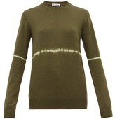 Jil Sander Tie-dye Stripe Wool-blend Sweater - Womens - Dark Green