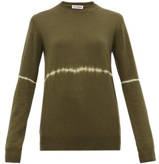 Jil Sander Tie-dye Stripe Wool-blend Sweater - Womens - Dark Green