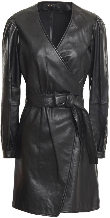 Maje Leather Mini Wrap Dress