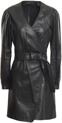 Maje Leather Mini Wrap Dress