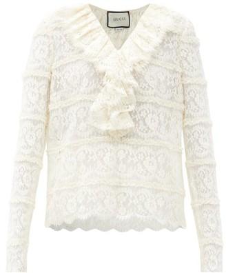 Gucci Ruffled Cotton-blend Lace Blouse - White