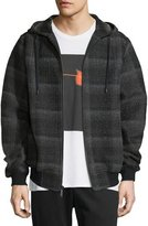 Public School Plaid Ruched-Sleeve Hooded Jacket