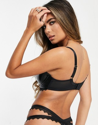 Pour Moi? Pour Moi Fuller Bust Glow wetlook demi padded bra with lace trim in black