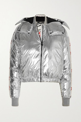 Perfect Moment Star Hooded Cropped Quilted Metallic Ski Jacket - Silver