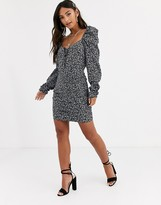 In The Style x Dani Dyer ditsy print ruched mini dress