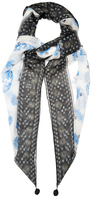Alexander McQueen Thistle and skull-print silk-chiffon scarf