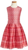 Oscar de la Renta Girl's Lace Bands Mikado Party Dress