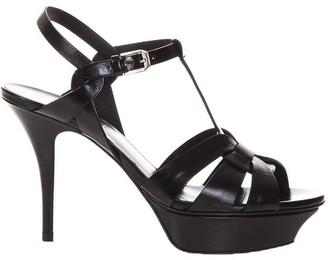 Saint Laurent Tribute Black Leather Sandals