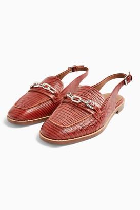 Topshop LISBON Rust Leather Slingback Loafers