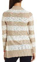 Charlotte Russe Slub Striped Open Cardigan Sweater