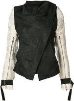 Ann Demeulemeester cowl neck jacquard jacket - women - Linen/Flax/Acetate/Rayon - 38