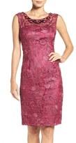 Adrianna Papell Embellished Lace Sheath Dress