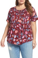 Lucky Brand Plus Size Women's Floral Lace-Up Peasant Top