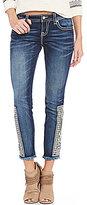 Miss Me Embroidered Fray Hem Skinny Jeans