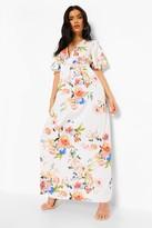 boohoo Cap Sleeve Shirred Waist Floral Maxi Dress