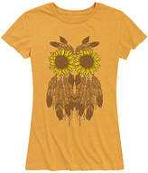 Instant Message Women's Women's Tee Shirts HEATHER - Heather Golden Meadow Flower & Feather Owl Relaxed-Fit Tee - Women