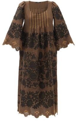 Vita Kin Mathilde Hand-embroidered Linen Dress - Brown Multi