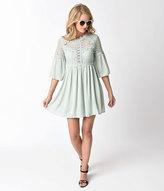 Unique Vintage 1970s Style Mint Crochet & Back Cutout Detail Sleeve Flare Dress